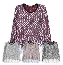Girls Jumper New Kids Long Sleeve Lace Party T shirt Top Grey Tunic 3-12 Years