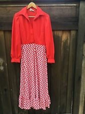 Vintage Red White Checkered Dress Leslie Fay Long Country