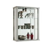 Silver Wall Mounted Glass Display Cabinet Double Retail Domestic Internal Light