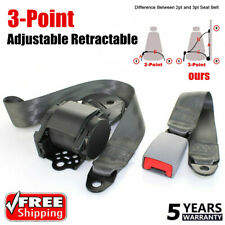 Set Safety Gray 3 Point Retractable Car Seat Lap Belt Adjustable Kit Universal ~