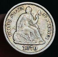 1870 Seated Liberty Half Dime 5C High Grade Choice Good Silver US Coin CC6291