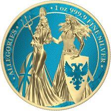Germania 2019 5 Mark Germania & Britannia Space Blue & Gold 1 Oz Silver Coin