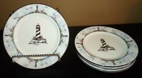 "(4) Totally Today COASTAL  LIGHTHOUSE 7 1/2"" Salad Plates"