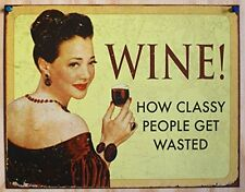 Funny Vintage Wine Tin Sign Distressed Retro Wall Art Bar Pub Home Decor Gift