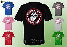 USMC Marine Corps Shirts Red Circle USMC Logo New  -  Licensed Tee