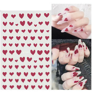Black White Red Love Heart 3D Nail Stickers Design Decals Nail Art Manicure DIY