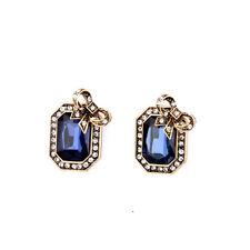 Boucles d`Oreilles Clips Pinces Doré Noeud Papillon Bleu Rectangle Vintage J6