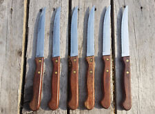 Vintage Cutting Inox Italy Steak Knife x 6 wooden handle stainless steel cutlery