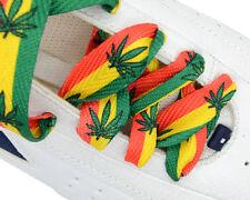 "Fashion Shoelace ""Rasta"" Green Yellow Red Marijuana Shoelace 18mm Width One Pair"