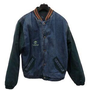 Vintage Timberland Embroided Denim Bomber Jacket XXL