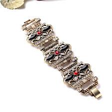 Bracelet Creux Noir Rouge Art Deco Retro Ancien Vintage Class Mariage CT3