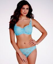 NWT AUBADE Paris 36C S Half Cup Bra And Thong Panty Set Lace $220 lingerie blue