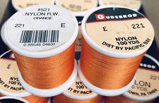 2 Spools Gudebrod Nylon Rod Winding Thread Orange #221 Size E 200 yards