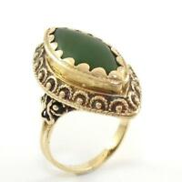 Vintage Solid 14K Yellow Gold Green Nephrite Jade Ring Size 6.5 GEJ
