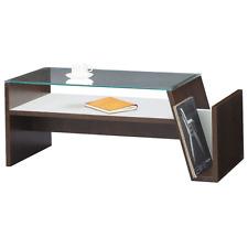 Glass Top Coffee Table Open Bottom Shelf Magazine Rack MOC-01BR Azumaya Products