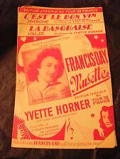 Partition C'est le bon vin Yvette Horner La basquaise 1953 Music Sheet