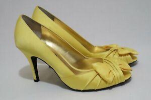 Nina New York Size 10 Womens Peep Toe Pleated Bow Tie Detail Heels