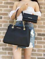 Michael Kors Teagen Large Jet Set Chain Tote Shoulder Bag Black + Trifold Wallet
