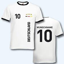 T-Shirt Trikot Retro-Shirt, EM/WM Deutschland, Wunschname + Ziffer, Ringer T
