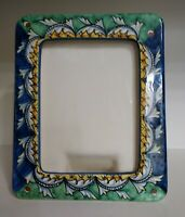 """Vietri  Picture Frame Signed Amano Italy Blue Green Gold Design 5"""" x 7"""""""