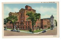 1940s YMCA Building Toledo Ohio Street View Linen Postcard Cars Church Curteich