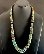 Sterling Silver Graduated Green Turquoise Bead Necklace. 32 inch