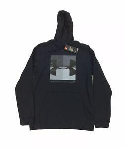 NEW Under Armour Fleece Graphic Pullover Hoodie Jacket Mens Loose Coldgear Black