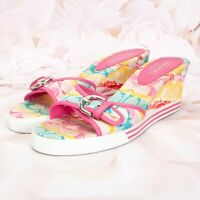 Coach Women's Perry Wedge Sandals Heels Size 8.5B Canvas Open-Toe Floral Pink