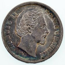 1874 German States Bavaria 5 Mark Silver Coin in VF+ Condition KM #896