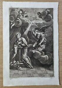 Antica incisione acquaforte immagine sacra Annunciazione Grandi Incis. del 700
