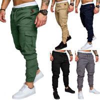 Mens Slim Pockets Casual Urban Straight Leg Trousers Pencil Jogger Cargo Pants