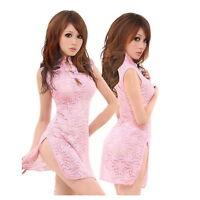 New Sexy Lace Transparent Cheongsam Dress Lingerie Underwear Sleepwear+G-string
