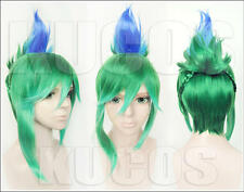 League of Legends LOL Riven Mixed Green Blue Cosplay wig Anime Hair + Cap