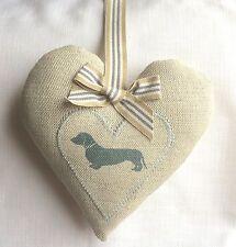 Emily Bond Blue Dachshund Appliqued heart Laura Ashley Austen linen  Mothers Day
