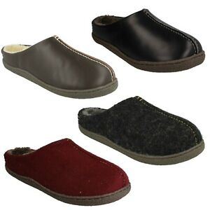 RELAXED STYLE MENS CLARKS LEATHER SLIP ON COSY FUR WINTER INDOOR SLIPPERS SHOES
