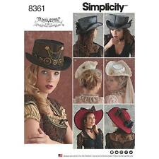 SIMPLICITY SEWING PATTERN HATS IN 3 SIZES STEAMPUNK 8361