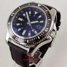 44mm bliger sterile black dial ceramic bezel date window Automatic mens Watch