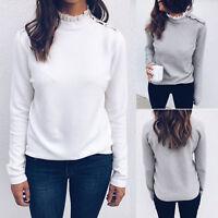 Women High Neck Lace Long Sleeve Winter Warm Casual Sweater Shirt Casual Tops XL