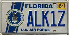 More details for  florida u.s. air force american license licence usa number plate tag alk1z