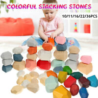 Montessori Wood Colored Balancing Stones Baby Stacking Building Blocks Toy