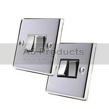 10 Amp Double Light Switch 2 Gang 2 Way in Polished Chrome Square Style