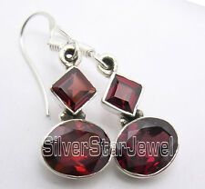 """925 Solid Silver Natural Garnet 2 Gemstone Collectible Nice Earrings 1.3"""" New"""