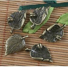 18pcs antiqued bronze insect in the leaf  pendant G1564