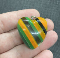 Vintage Colorful Lucite Striped Puffy Heart Pendant 1.25""
