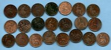 22 DIFFERENT QUEEN VICTORIA BUN HEAD FARTHING COINS DATED 1860 - 1894. JOB LOT.