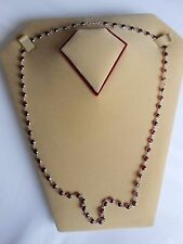 Hall Mark Genuine Sterling Silver Red Garnet Single Link Chain Necklace (N19/2)