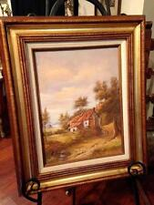 Mid Century Original Signed Oil Painting Cottage Trees Landscape Skyscape