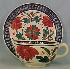 Antique Garden Spongeware Cup & Saucer Holland Red Blue Flowers Hand Painted