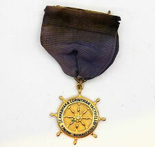 Seawanhaka Corinthian Yacht Club Medal On Original Purple Ribbon & Brass Clasp