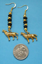 WOLF Earrings Black & Gold Beads Gold Tone Wolves 14kt Gold Plate Ear Wires NEW!